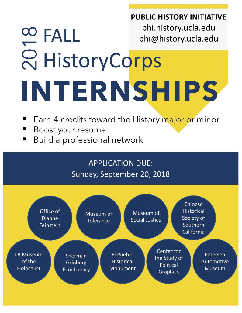 HistoryCorps Offers A Unique Internship Opportunity For Upper Division UCLA  History Majors And Minors To Earn 4 Units Of Course Credit By Applying The  ...